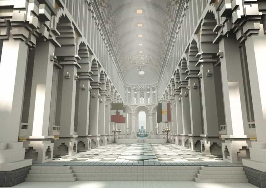 Un salón blanco con columnas dentro de The Uncensored Library