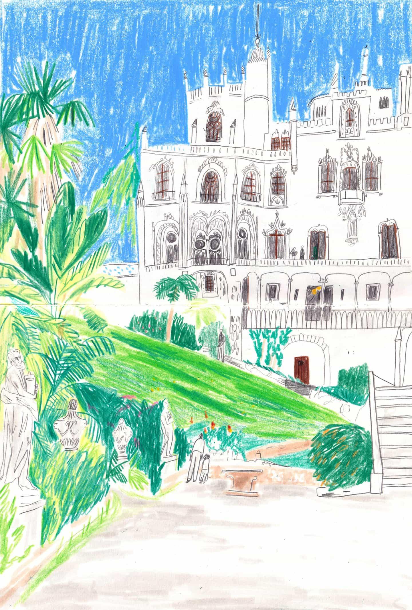Cuaderno de dibujo de la Quinta da Regaleira en Sintra, Portugal