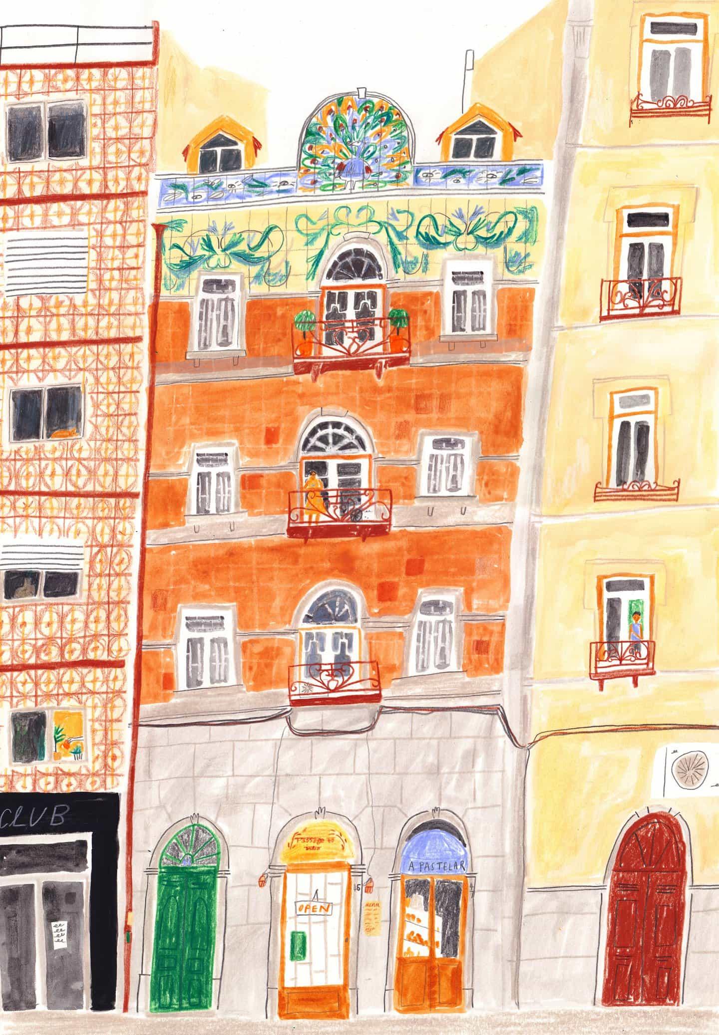 edificios y balcones de azulejos en Lisboa