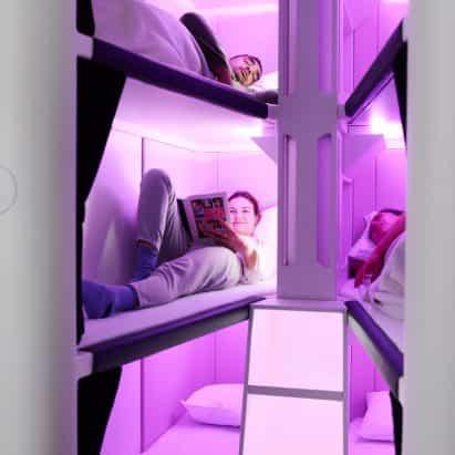 Air New Zealand vaina litera desarrollo de estilo cama para dormir para volantes de economía