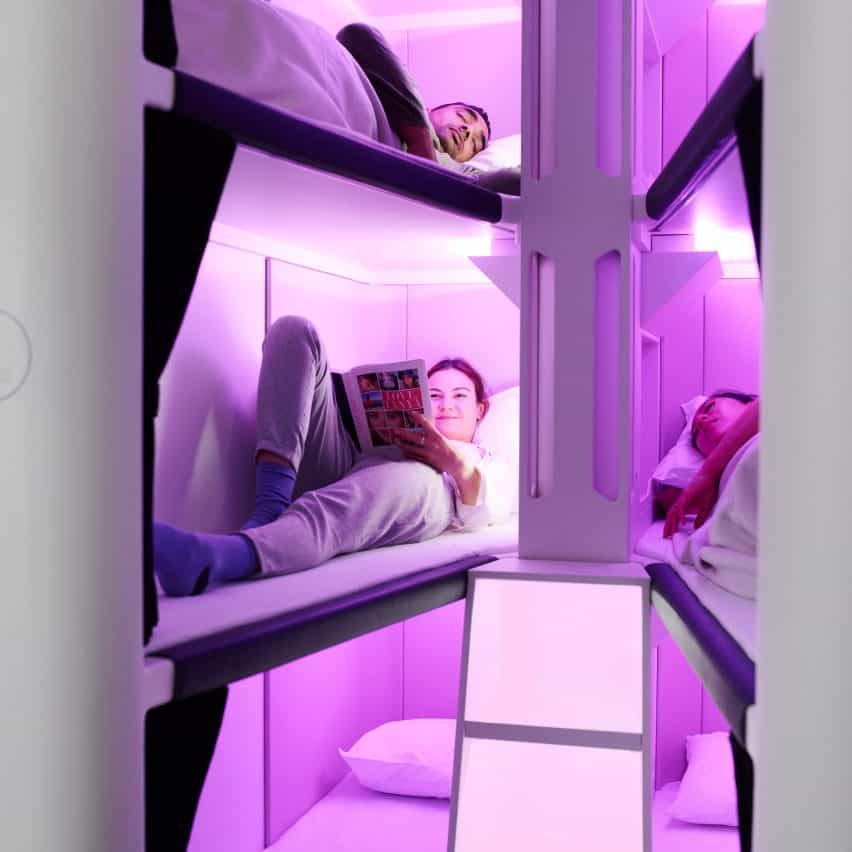 Skynest es una vaina de dormir de longitud completa para volantes de economía