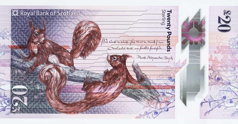 nueva £ 20 nota de Escocia es la lona para la fauna hermosa ilustración