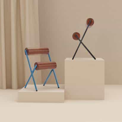 Las esculturales sillas Roll de MUT Design están basadas en máquinas de entrenamiento