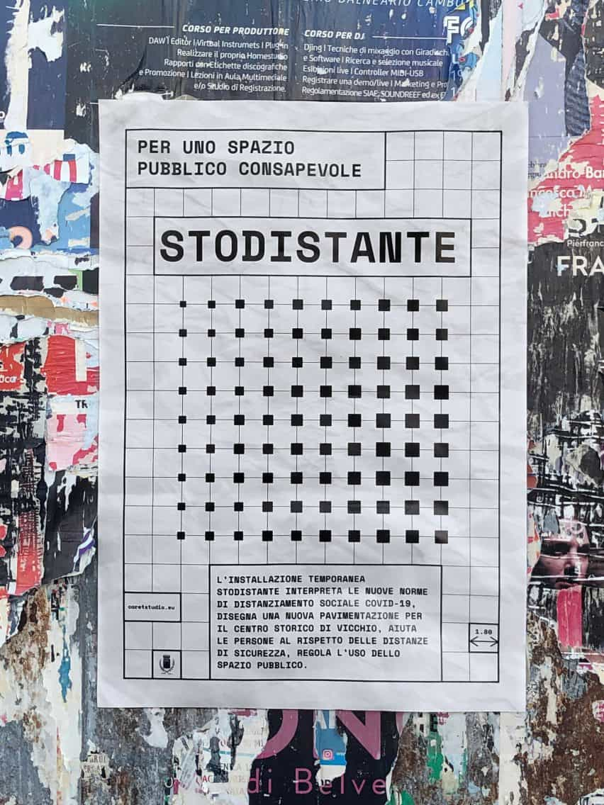 Estudio de intercalación instala la red como sistema de distanciamiento social en la plaza italiana