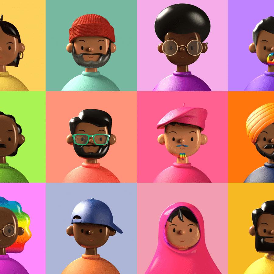Una biblioteca diversa de 3D avatares para inspirar su creatividad