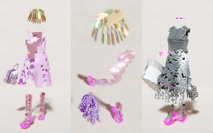 Se utilizaron formas abstractas para crear ropa