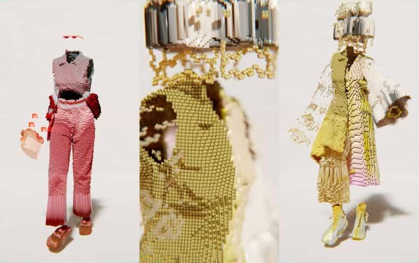 un trío de imágenes que muestran un aspecto dorado y rojo de Santa Kupča