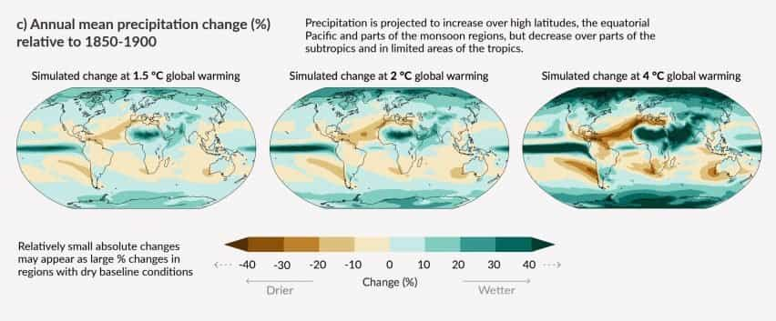 Cambios anuales de precipitación basados en 1,5, 2 y 4 grados de calentamiento del informe climático del IPCC