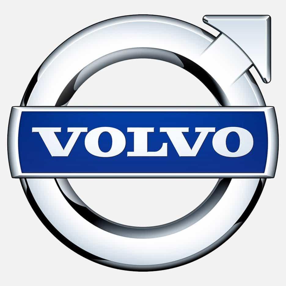 Un logotipo de Volvo plateado y azul
