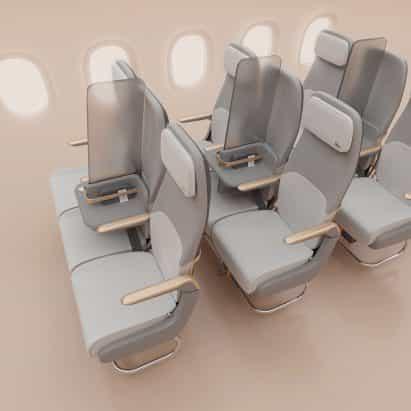 Factorydesign propone pantalla de aislamiento para el distanciamiento social en los aviones