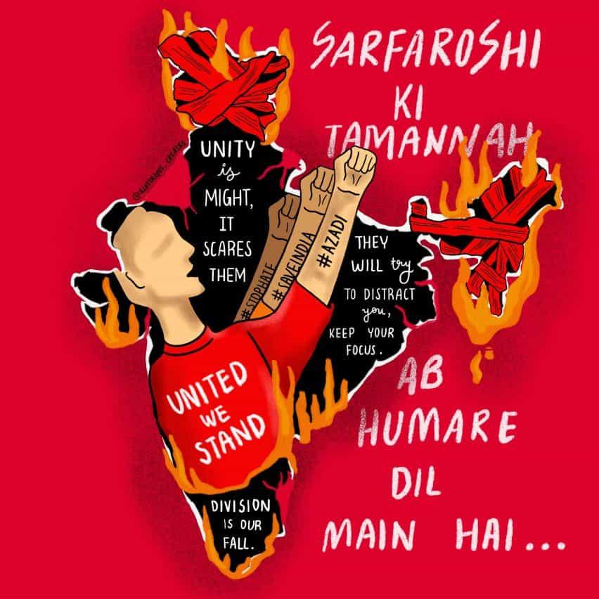 Ley de Modificación de la ciudadanía (CAA) protestas y carteles en la India