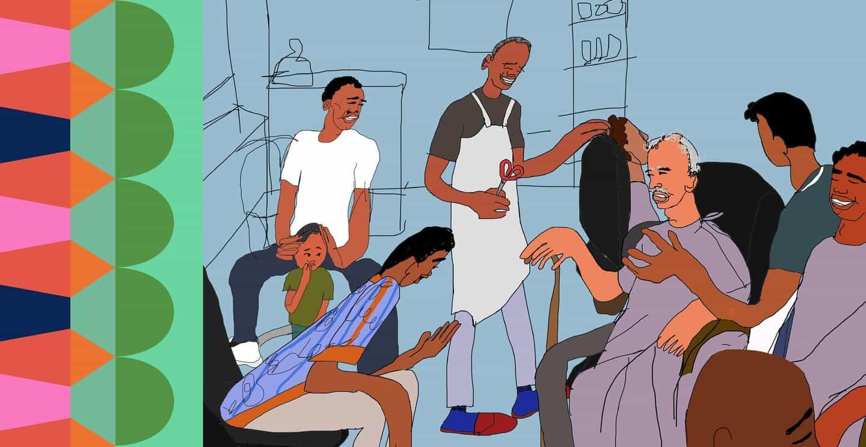 Hannah Buckman ilustra un cómic de una escena cortada de las Crónicas de barbería de Inua Ellams