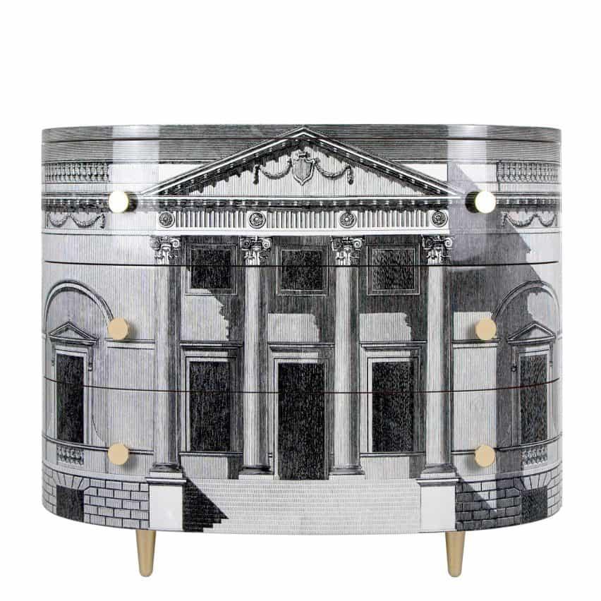 Palladiana caja curvada de cajones por Fornasetti