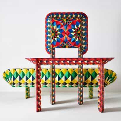 Adam y Arthur diseña la colección colorido paja marquetería informado por juego de salón