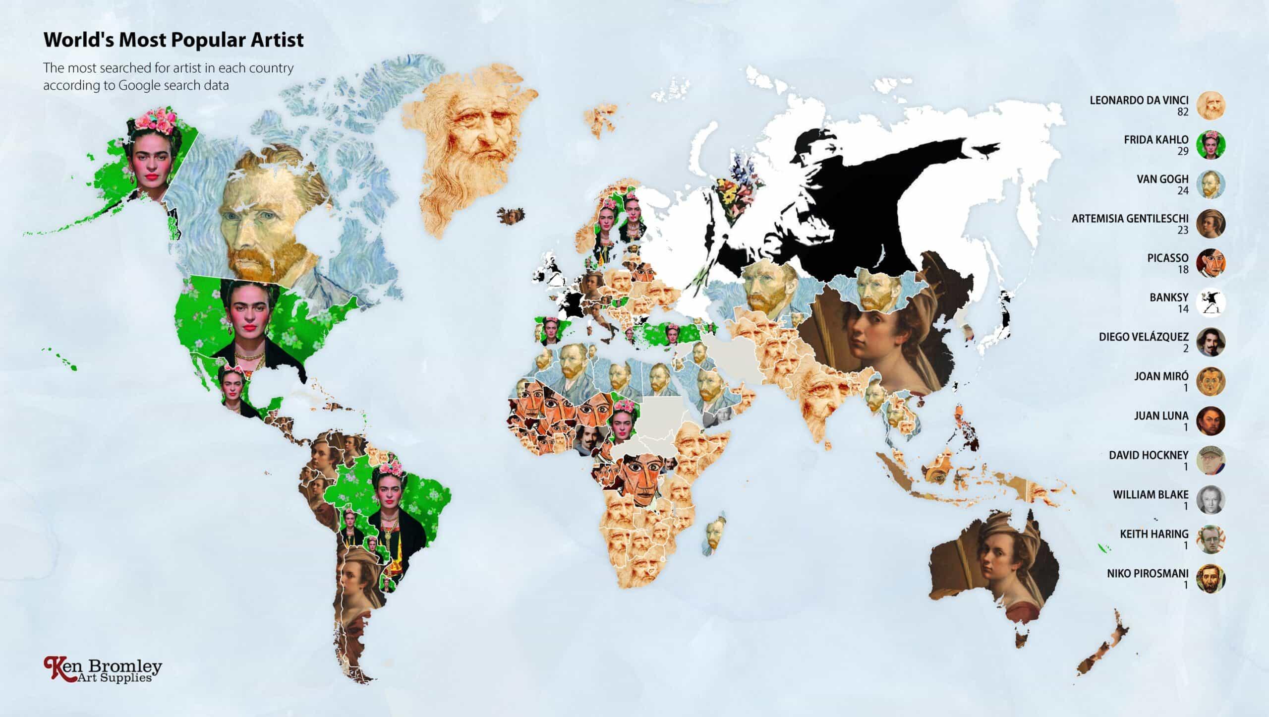 Impresionantes infografías muestran qué artista es más querido en su país