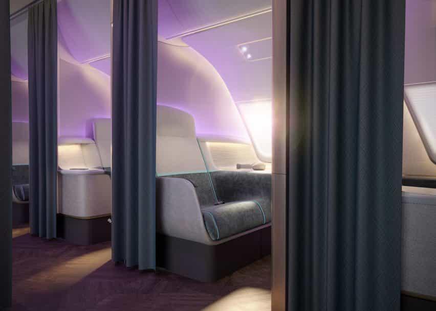 post-Covid futuro viaje aéreo Priestmangoode Envisions con el concepto de cielo puro