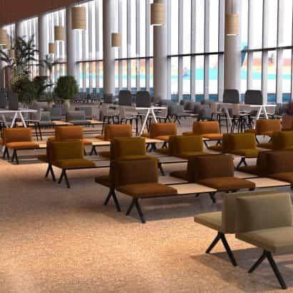 Volver a nuestros espacios de Arper reimagines aeropuerto y de oficina diseños después de la pandemia