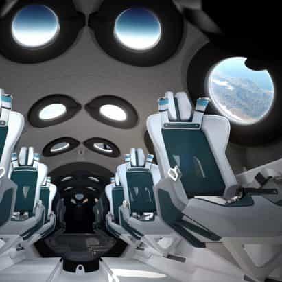 Seymourpowell diseños de cabina de la nave espacial Virgin Galactic para Maximizar vistas de la Tierra